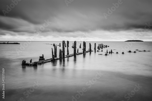 Fotografering  Pilmore Groynes, long exposure