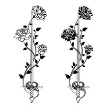 Decorative Roses With Sword. B...
