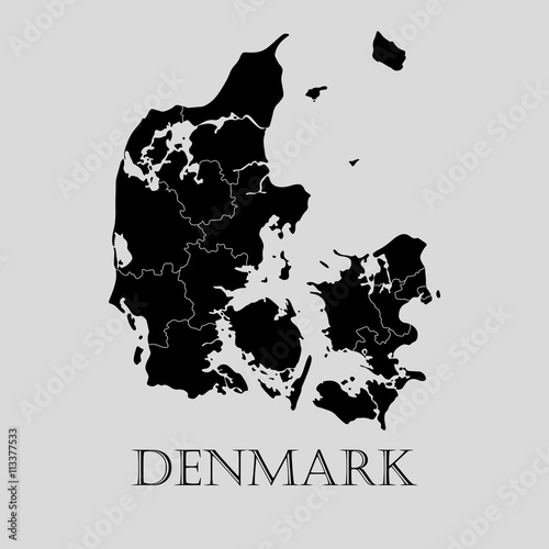 Fotografie, Tablou  Black Denmark map - vector illustration