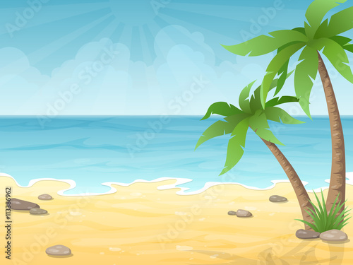 Wall Murals Green coral Tropical beach. Vacation nature background with palm tree, sand and sea.