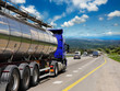 canvas print picture - Tanker with chrome tanker on the highway. Working visit