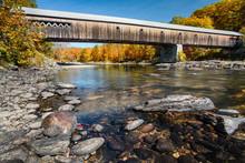 Vermont Covered Bridge In Autumn