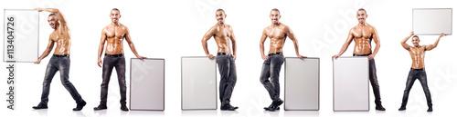 Fotografie, Obraz  Man with blank poster on white