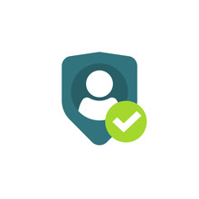 Privacy Authentication Icon, Flat Shield With Person Silhouette Symbol, Personal Protection Sign, Authentic Security Icon, Secure Confidentiality Label