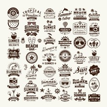 Summer Design And Typography Design With Labels, Posters, Logos And Icons Elements Set.