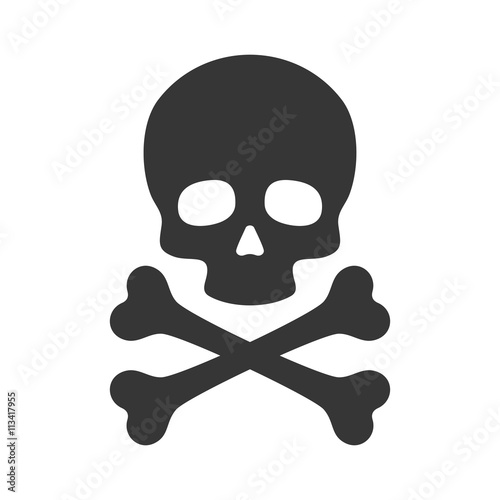 Skull and Crossbones Icon on White Background. Vector Fototapeta