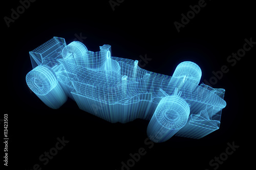 Fotografia  F1 Ferrari Wireframe Hologram