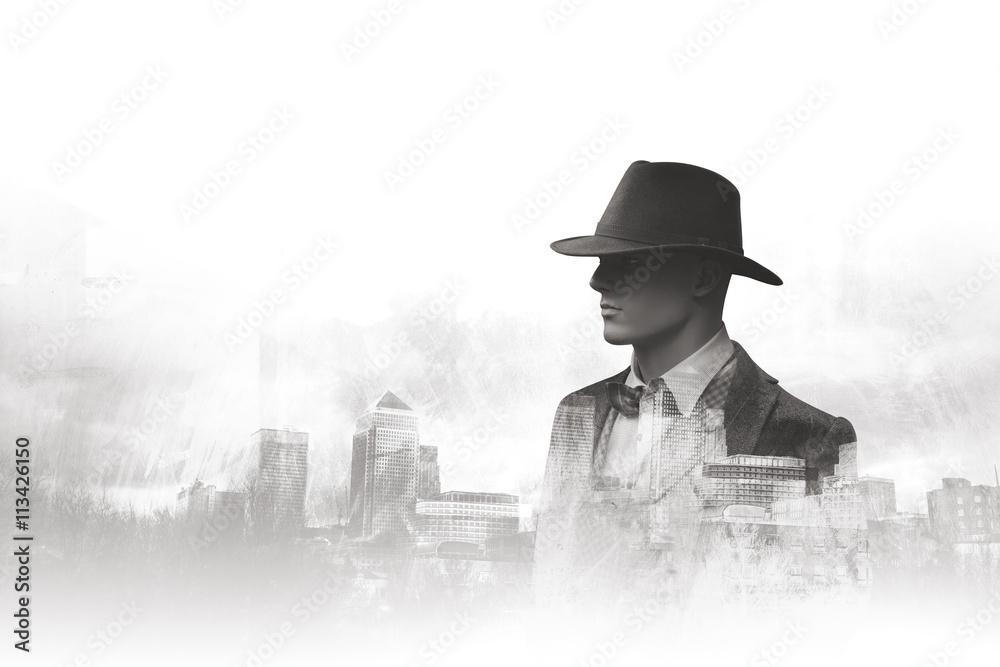 Fotografie, Tablou  Black and white double exposure portrait urban man