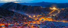 Panorama Top View Night Scene At Larung Gar (Buddhist Academy) In Sichuan, China