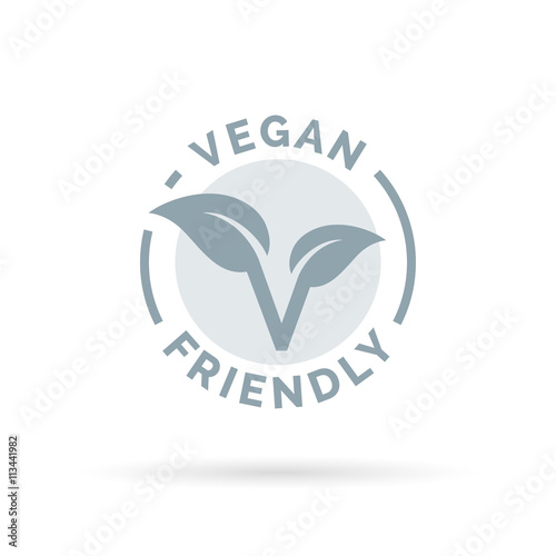 Vegan friendly icon design. Vegan concept sign. Vegan leaf symbol. Vector illustration. Wall mural
