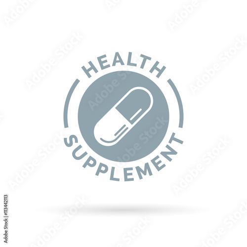 Health supplement symbol with vitamin capsule icon Obraz na płótnie