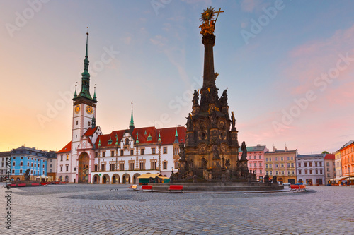 Photo  Town hall and Holy Trinity Column in the main square of the old town of Olomouc, Czech Republic