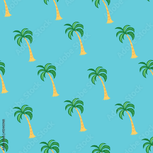tropikalny-drzewko-palmowe-bezszwowy-wzor-na-blekitnym-tle-ilustracji-wektorowych