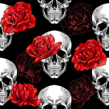 Skull And Red Roses On Black Background .Vector Seamless Pattern
