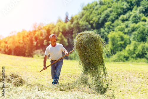 Leinwand Poster Farmer with a pitchfork collecting hay