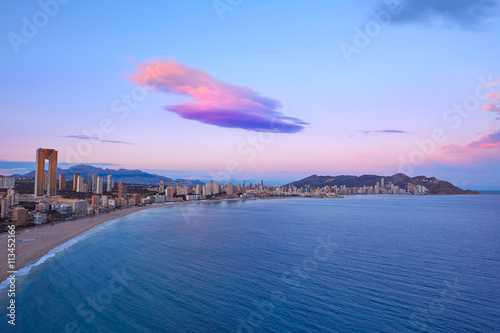 Benidorm Poniente beach sunset Alicante Spain