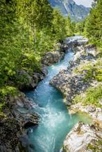 River Bed Of Soca River In Triglav National Park, Slovenia