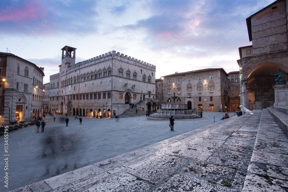 Fotografie, Obraz  View of Piazza IV Novembre, Perugia, Umbria, Italy