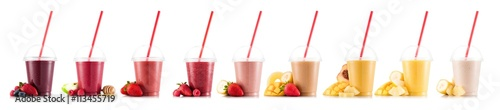 Garden Poster Milkshake Nine, multifruit smoothies isolated on white, in plastic cup with fruits