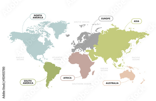 World Map Continents / Vector of World Map with Continents Section Name Poster Mural XXL