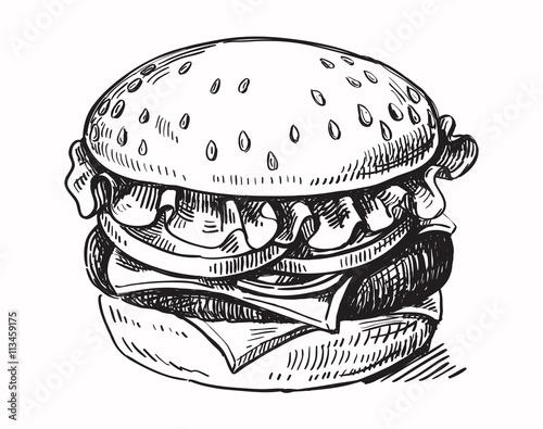 black hand drawn hamburger Fototapet