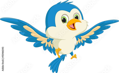 Tuinposter Sprookjeswereld happy blue bird cartoon flying
