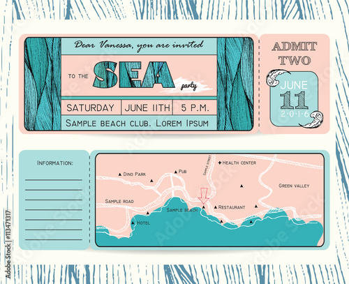 summer invitation template ticket to a sea party or celebration