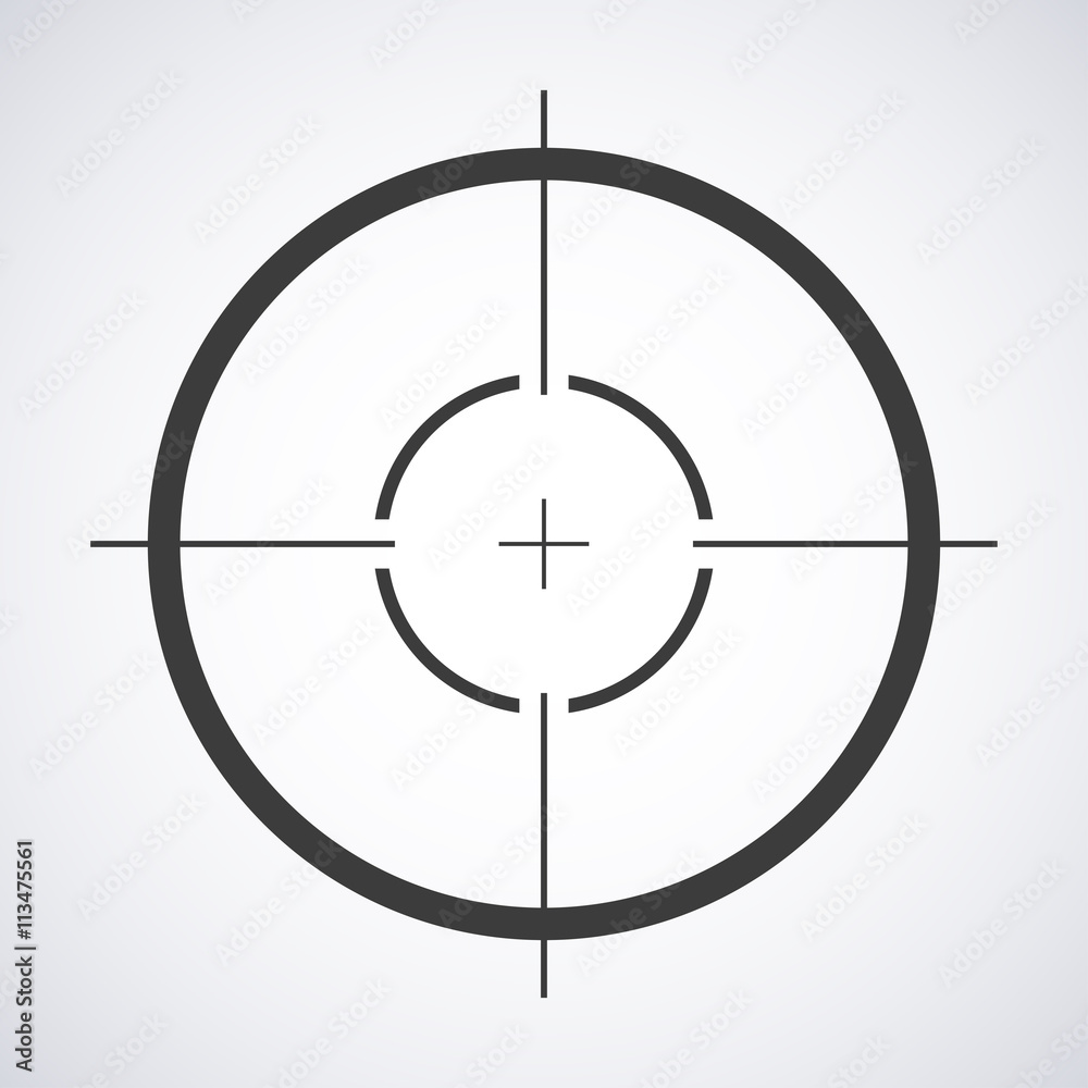 Fototapety, obrazy: Target icon, sight sniper symbol isolated on a gray background, Crosshair and aim vector illustration stylish for web design