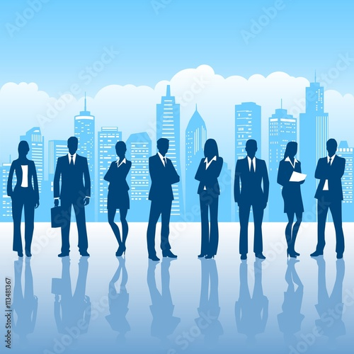 business people and high-rise buildings Poster