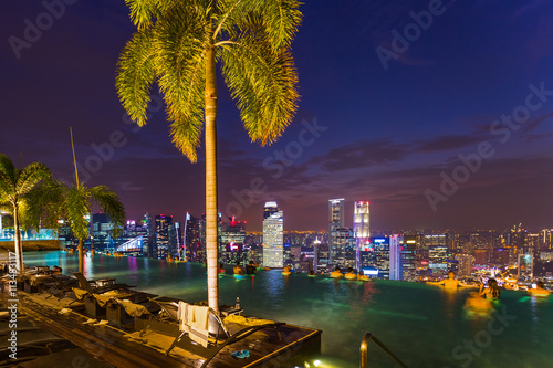 Photo  Pool on roof and Singapore city skyline