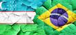 Leinwanddruck Bild - Uzbekistan flag with Brazil flag on a grunge cracked wall