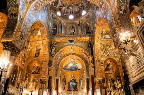 Interior of The Palatine Chapel with its golden mosaics, Palermo, Sicily, Italy