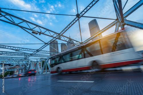 In de dag Bangkok traffic on steel bridge,tianjin china.