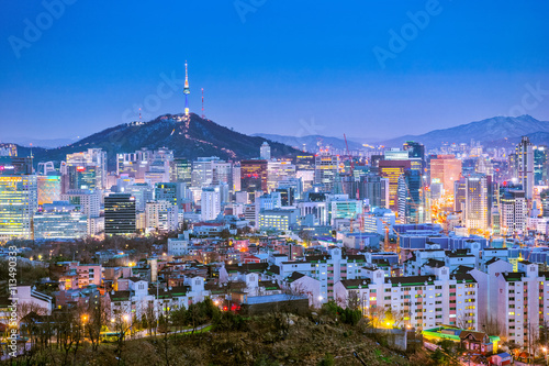 Keuken foto achterwand Seoel Seoul city skyline at night in South, Korea