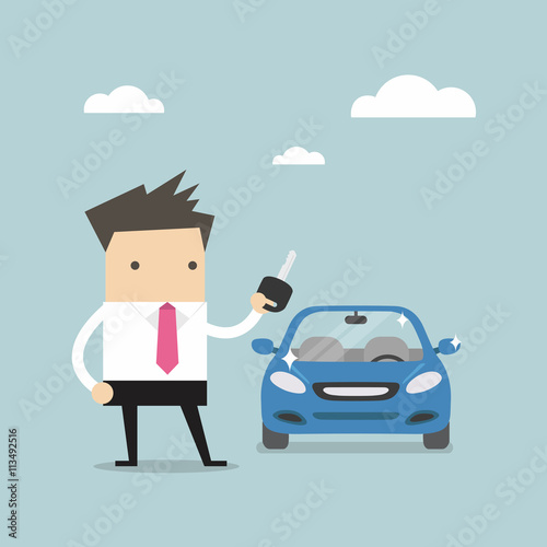 Staande foto Cartoon cars Businessman holding a key of a new car vector