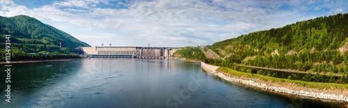 Fototapeta Summer, view of Hydroelectric power station on the Yenisei River obraz