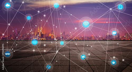Canvas Prints Kuala Lumpur smart city and wireless communication network, abstract image visual, internet of things