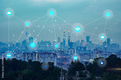 smart city and wireless communication network, abstract image visual, internet o Canvas Print