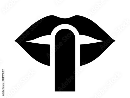 be quiet / be silent or silence with finger over lips flat icon for