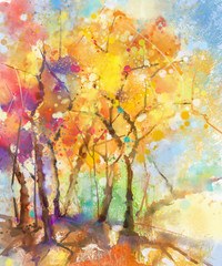 Fototapeta Drzewa Watercolor painting colorful landscape. Semi- abstract watercolor landscape image of tree in yellow, orange and red with blue sky background. Spring, summer season nature watercolor background
