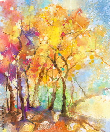 Spoed Fotobehang Meloen Watercolor painting colorful landscape. Semi- abstract watercolor landscape image of tree in yellow, orange and red with blue sky background. Spring, summer season nature watercolor background