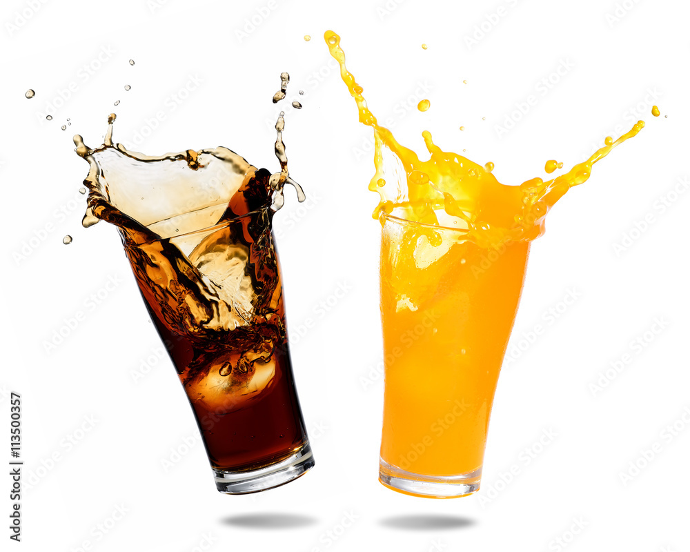 Fototapeta Orange juice and cola splashing out of glass., Isolated white background.