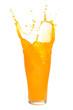 Orange juice splashing out of glass., Isolated white background.