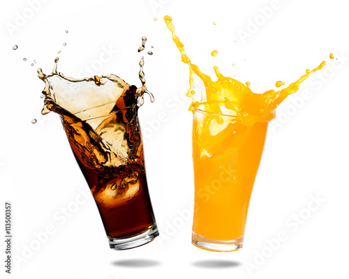 Orange juice and cola splashing out of glass., Isolated white background.