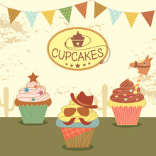 Illustration Vector Of Cupcakes With Cowboy Theme Concept Party.
