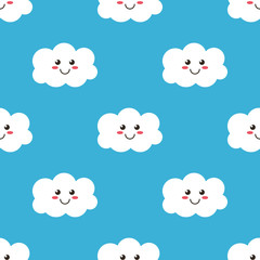 Tapeta Funny cartoon smiling clouds seamless pattern background.