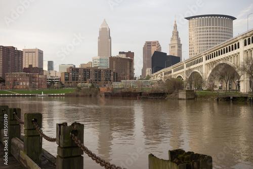 Fotografie, Obraz  Cleveland Ohio Downtown City Skyline Cuyahoga River