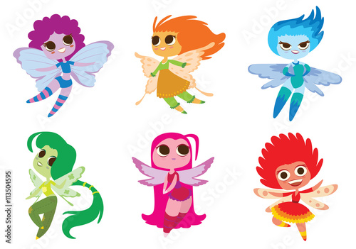 plakat Vector set of cartoon images of cute female fairies with big eyes, butterfly wings and with different hair color on a white background. Made in a flat style. Positive characters. Vector illustration.