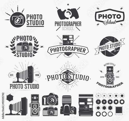 Photography and photo studio logo, Classic camera Labels