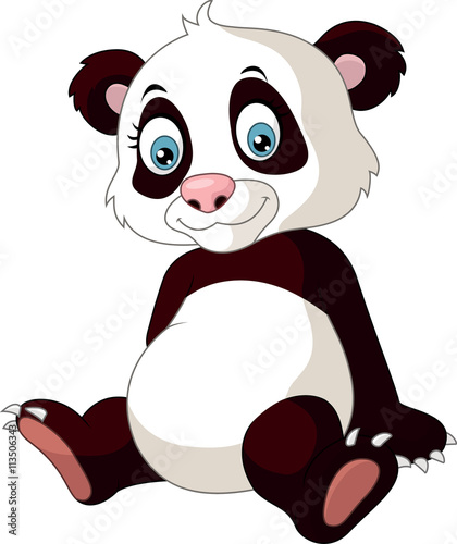 Wall Murals Bears Cartoon funny panda isolated on white background
